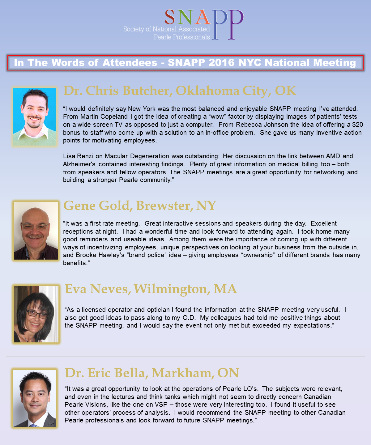 In the Words of Attendees – SNAPP National Meetings | Snapp Group
