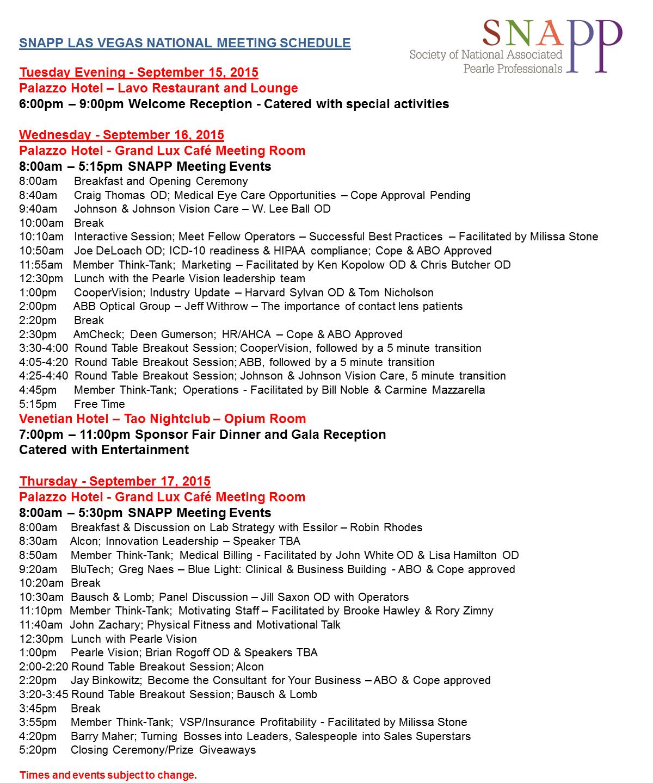 Schedule update 9-9